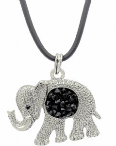 Large Elephant & Black Crystals Necklace - Unique Statement Jewellery, Great Gift Idea for Elephant Collectors